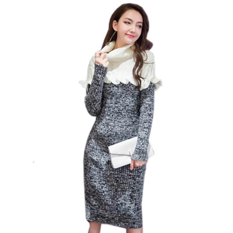 Новинка зимнее женское трикотажное платье высокое качество модный свитер с