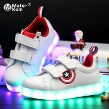 גודל 25 37 ילדי זוהר סניקרס Led זוהר נעלי בני בנות אור עד מקרית ילדים 7 צבעים USB תשלום מואר נעלי
