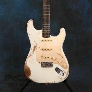 Новая высококачественная электрогитара с белыми ручками, с розовым грифом, китайская фтория делает все виды гитары s