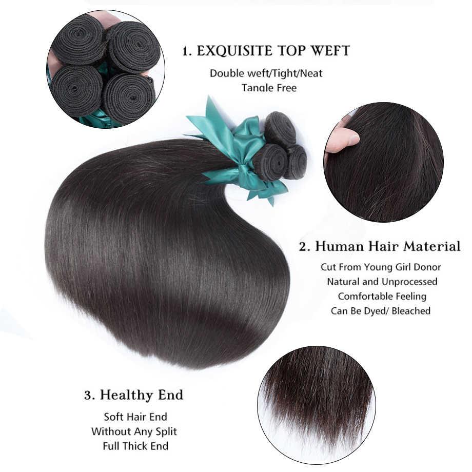Bling Haar Steil Haar Bundels Met Sluiting 360 Kant Frontale Braziliaanse Haar Weefsel Bundels Met Sluiting 100% Human Hair Sluiting
