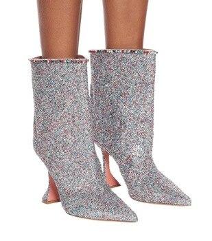 Damas Diamante de imitación apertura Bling lentejuelas resbalón en botas Copa tacones tobillo botas mujeres cuero genuino punta corta