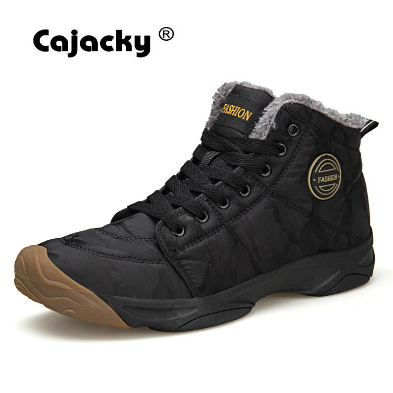 Cajacky Warm Fur Men Boots 48 47 Big Size Men Snow Boots Winter Ankle Botas Plush Hombre Outdoor Rubber Lovers Krasovki Trainers