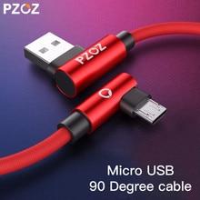 Cabo micro usb de carregamento rápido pzoz, 90 graus, para xiaomi redmi, huawei, tablet micro usb com micro usb