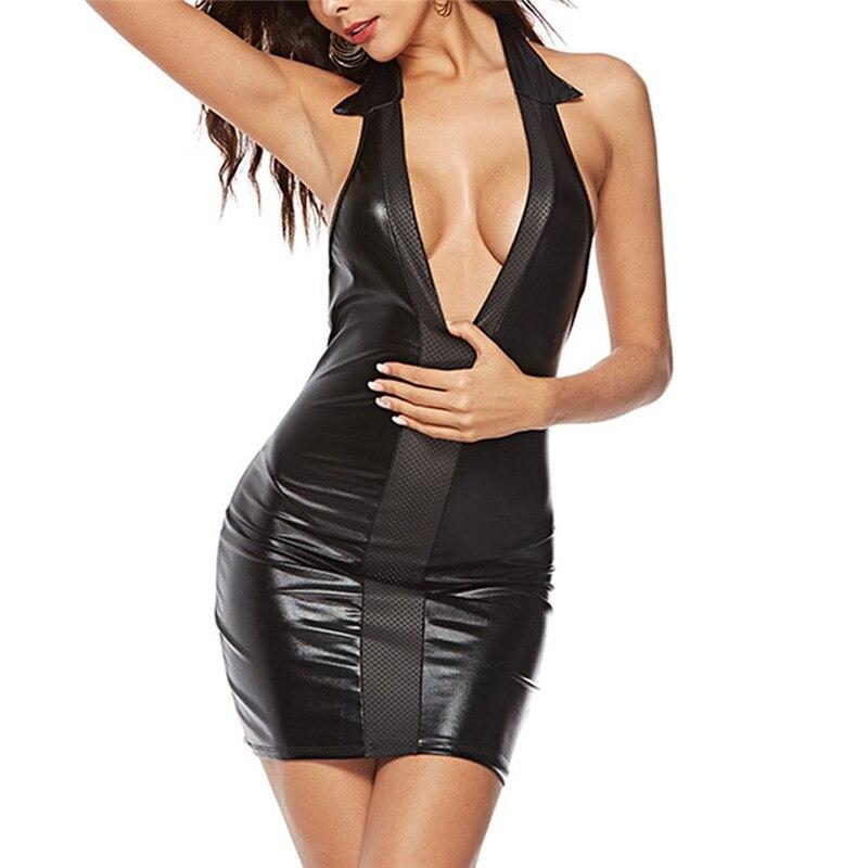 New Leather Sexy Lingerie Women Halter Deep V-neck Mini Dress Sexy Underwear Female Lingerie Sexy Hot Erotic Dresses