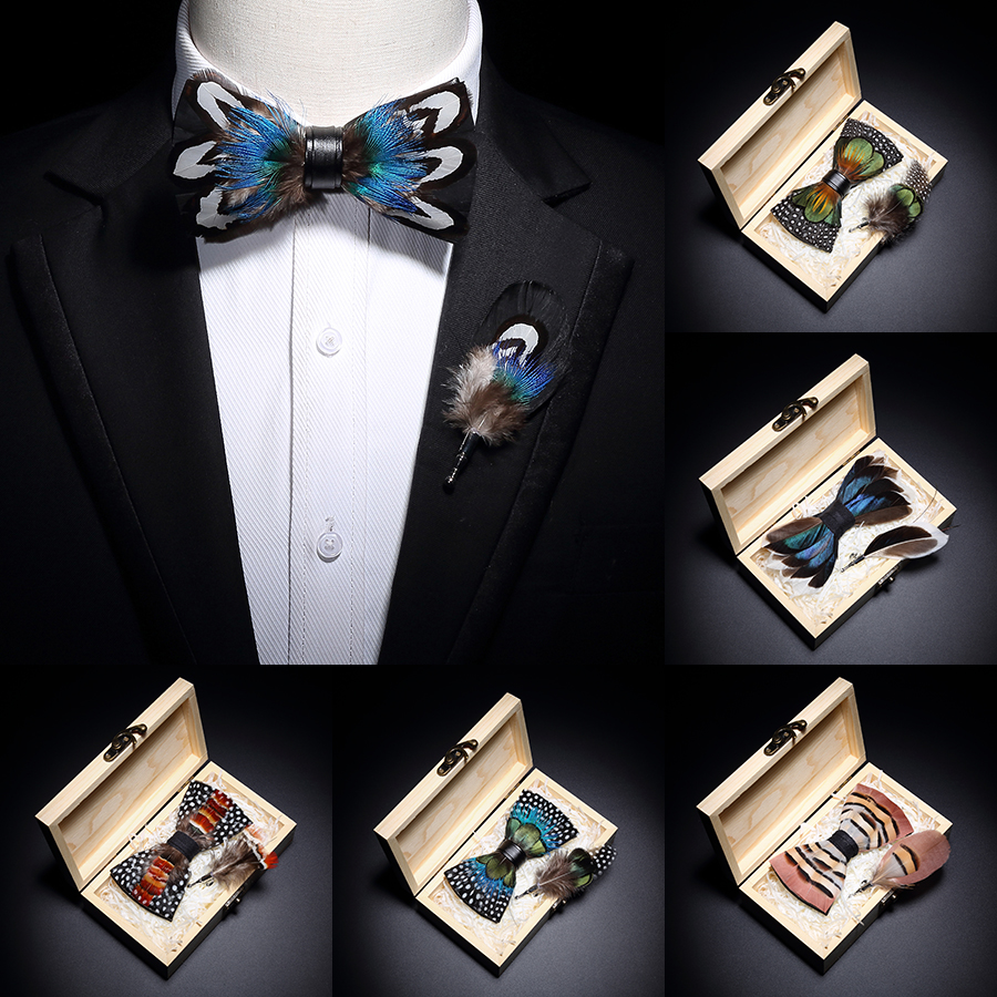 GUSLESON 2019 Original Design Bow Tie Feather Bow Exquisite Handmade Men's Bow Tie Brooch Pin Wooden Gift Set Wedding Party