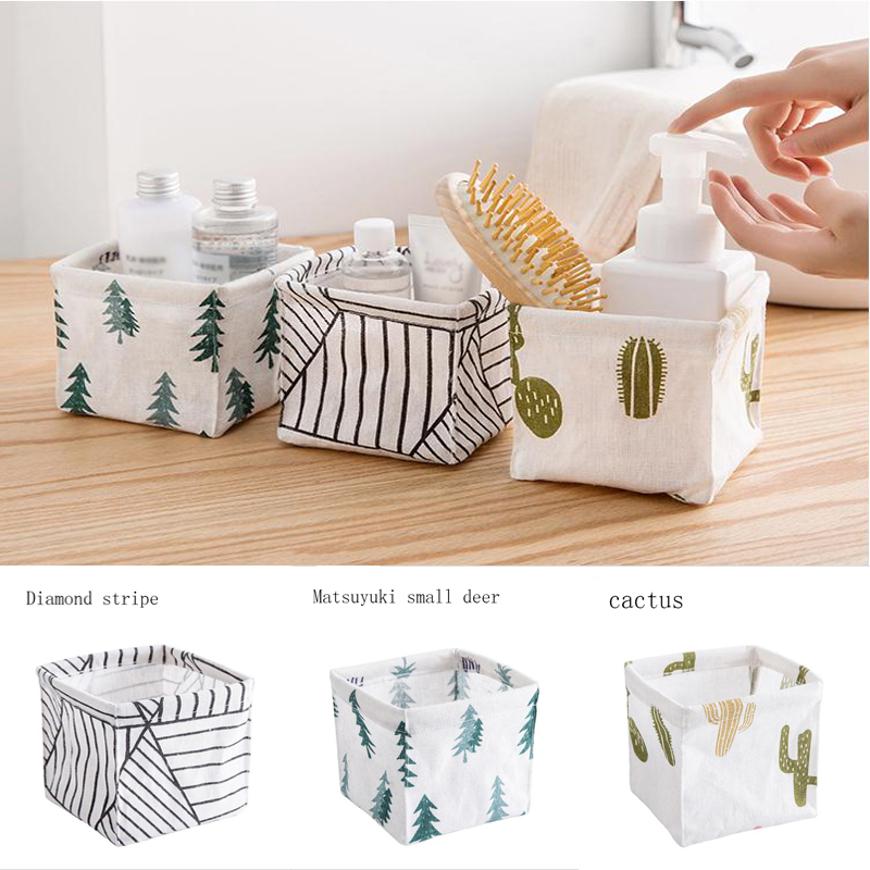 Fabric Desktop Storage Basket Sundries Makeup Organizer Case Storage Box Basket Striped Cactus White Packing Organizers Hot