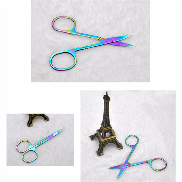 Colorful Chameleon Curved Head Eyebrow Scissors Eyebrow Manicure Scissors Cutter Nail Makeup Tool Eyebrow Scissor 5