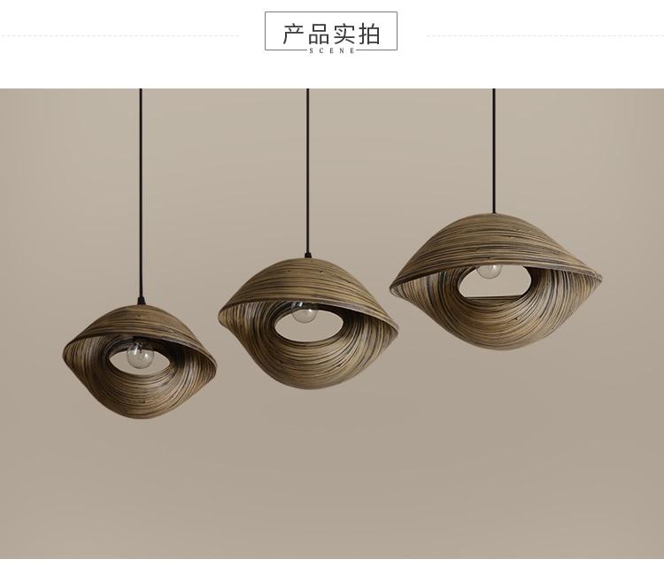 Tecelagem de bambu seashell pingente lâmpada sala