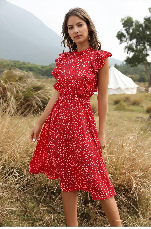 Dot Print Butterfly Sleeve Ruffles Long Chiffon Dress 4