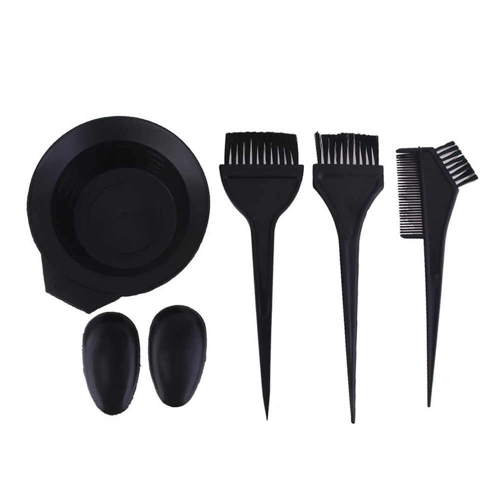 6 pces tintura de cabelo escova de coloração pente de cabeleireiro cor mistura tigela capa de ouvido kit perfeito acessórios necessários para diy tintura de cabelo.