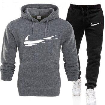 Fashion brand clothing 2021 men's winter clothing men's clothing warm velvet cotton training jogging sportswear casual suit 1