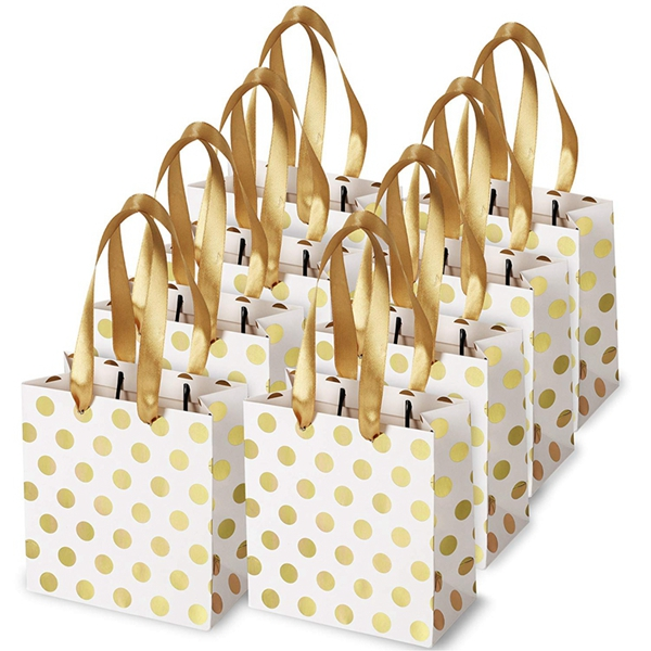 Small Gift Bags With Ribbon Handles Gold Mini Gift Bag,for Birthday Weddings Christmas Holidays Graduation Baby Showers(Metallic