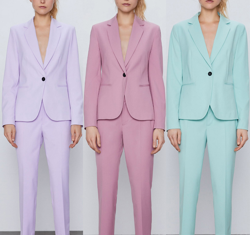 H2ef21da9a41f4aac94a60da37ec034e2f - Autumn Women Pant Suits Pink Single Button Blazer Jacket+Zipper Trousers Office Ladies Suits Two Piece Set Female Outwear