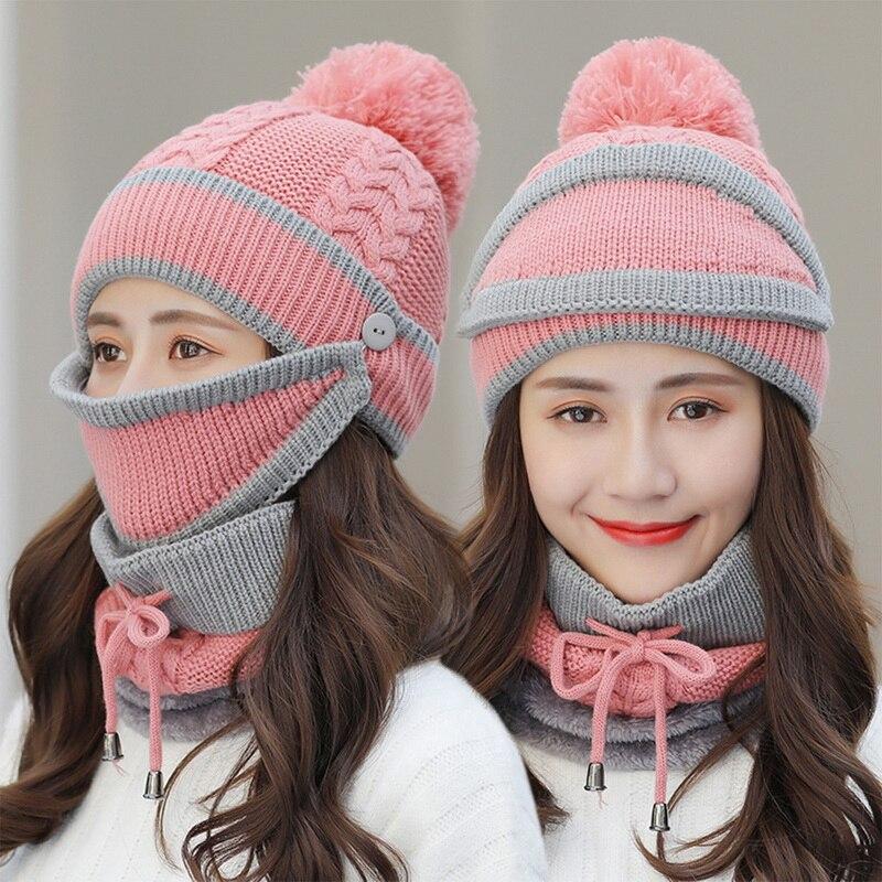chapeau écharpe tricoté épais chaud polaire à l'intérieur