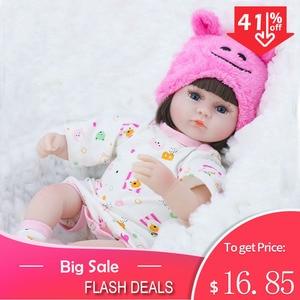 Reborn Baby Doll 42CM Baby Reborn Dolls Toys For Girls Accompany Doll Lifelike Toddler Blue Eyes Bebe Reborn Birthday Present(China)