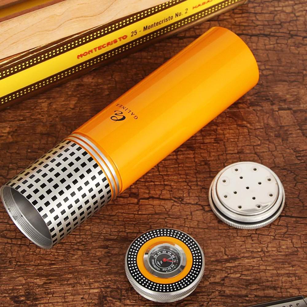 GALINER Metal Cigar Tube Travel Humidor Box Portable 3 Tube Cigar Case W/ Hygrometer Humidifier Outdoor Cigars Humidor Jar