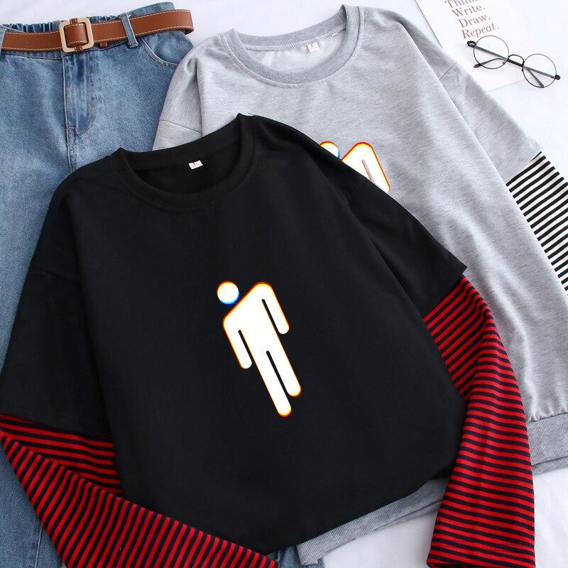 KPOP Billie Men's Pullovers Harajuku Kawaii Funny People Shape Print Hoodie Male Autumn Fake Two-Piece Splicing Color Sweatshirt