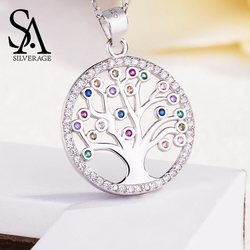 SA SILVERAGE New Female Sterling Silver Tree of Life Pendant Necklace Platinum Mosaic Round Pendant S925 European and American