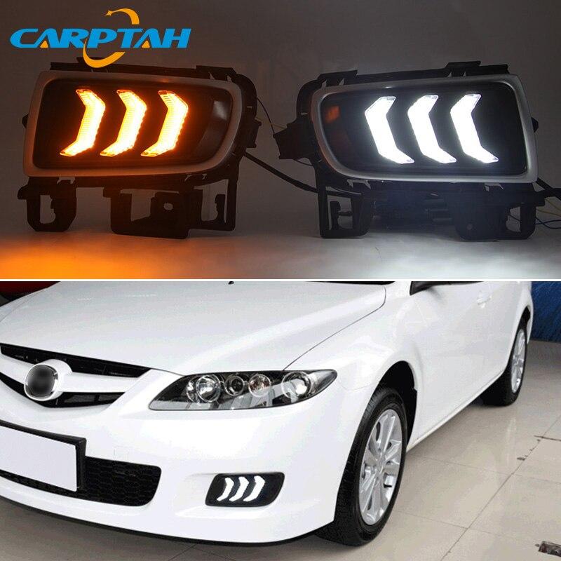 LED Tagfahrlicht Für Mazda 6 2005 - 2008 Dynamische Gelb Blinker Nacht Blau 12V DRL Nebel lampe Dekoration