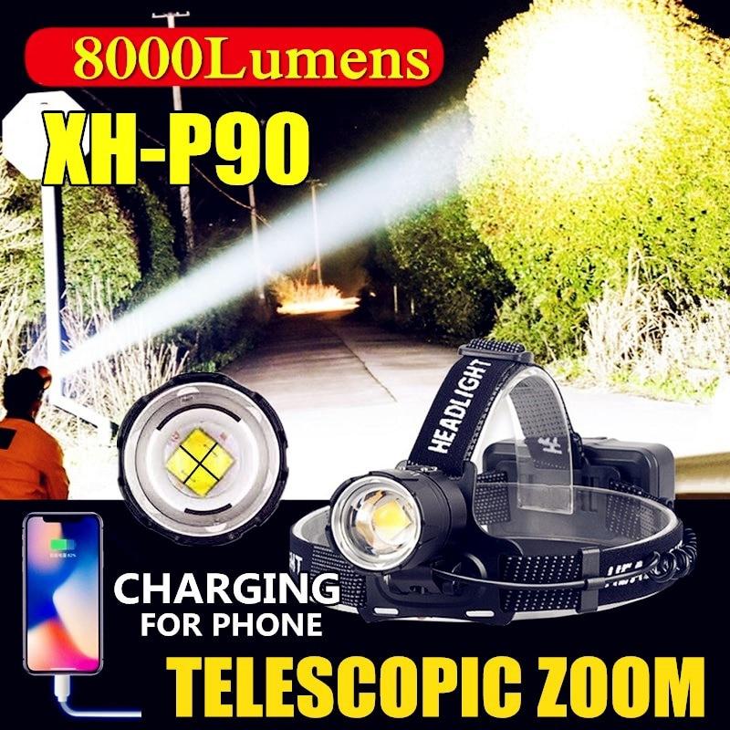 Z40 8000 Lumen XHP90 Led Headlamp Fishing Camping Headlight High Power Lantern Head Lamp Zoomable USB Torches Flashlight 18650