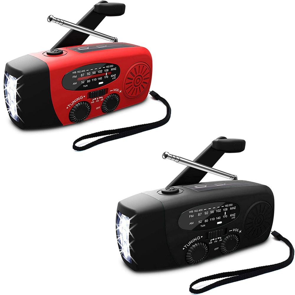 5 in 1 Freien Portable Radio Handkurbel Solar Kurbel Dynamos Powered & USB Lade FM AM WB Wetter Radio mit 3 LED Taschenlampe