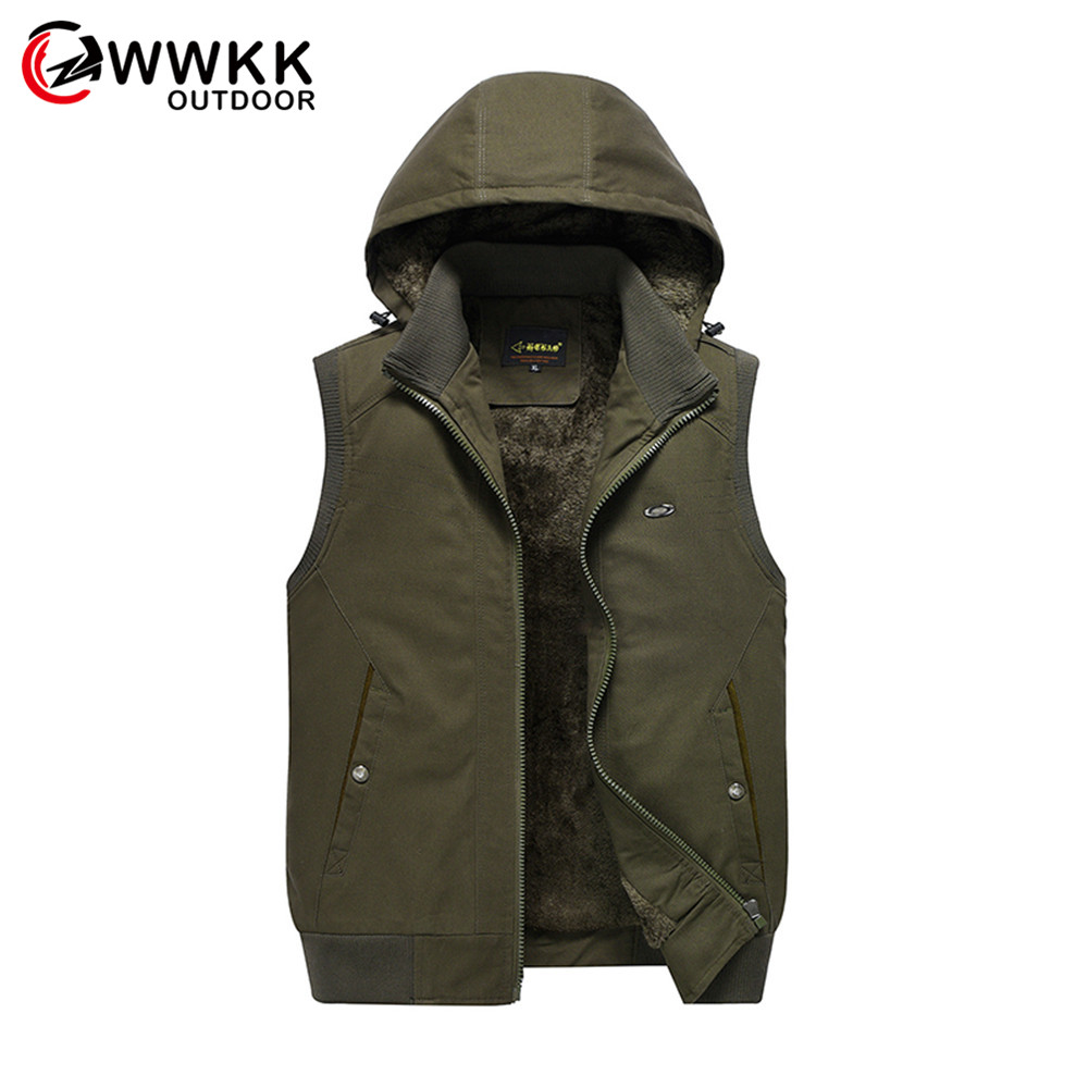 WWKK New Men's Outdoor Waterproof Hiking Trekking Climbing Hooded Coats Vests Waistcoat Hunting Unloading Dry Photography Cargo