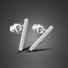 Fashionable Silver Jewelry Girl 925 Sterling Silver Earrings Simple Style Strips Earrings women earrings oorbellen bijoux reticulated round silver earrings simple style earrings