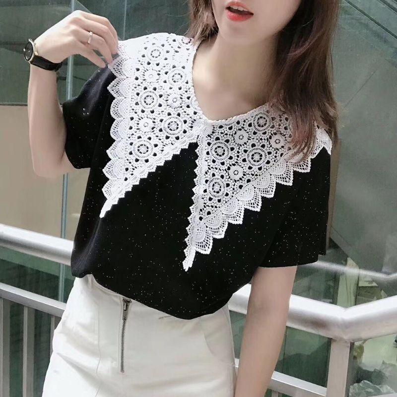 Korean Women Hollow Floral Lace Fake Collar Detachable Buttons Large Pointed Lapel Half Shirt Blouse Dress Decorative Accessory