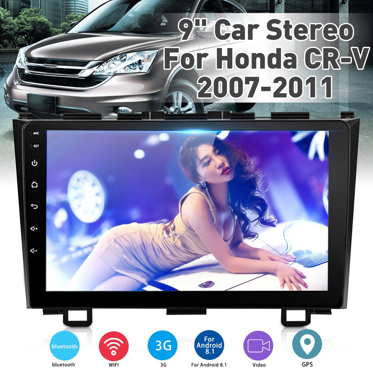 2 Din Android Car Stereo with Bluetooth 9 Inch Touch Screen AM FM Radio Support GPS Navigation WiFi Connect Mirror Link for Android//iOS Phone Dual USB Input /& 12 LEDs Backup Camera