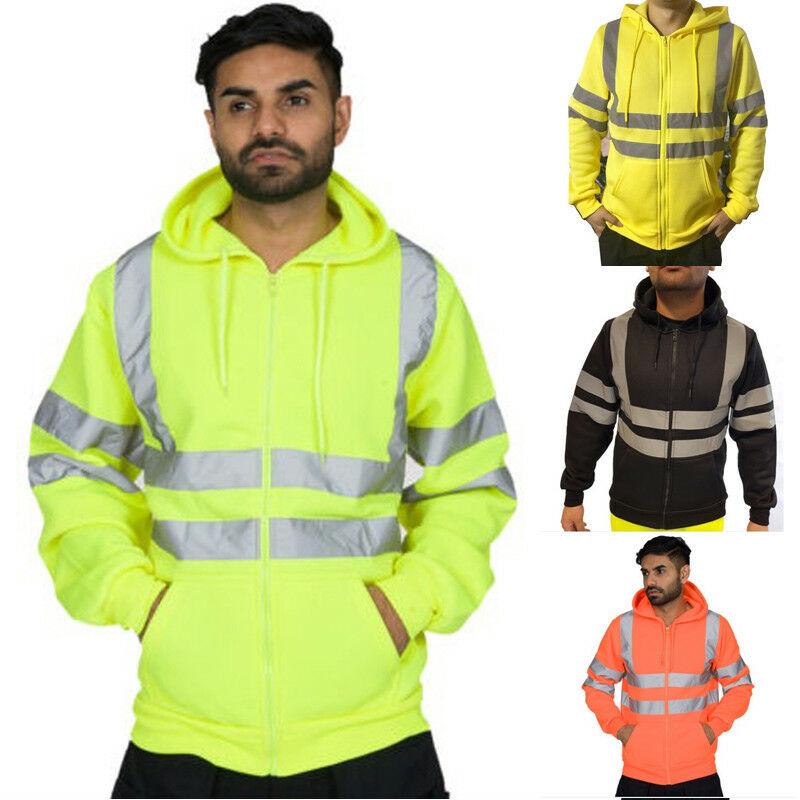 New Men Hooded Jacket Jumper Zipper Fleece Hoodie Coat Reflective Fluorescent Stripe Safety Work Clothes Engineer 4 Colors M-3XL