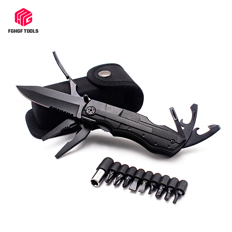 Outdoor Survival Multitool Folding Knife Plier Set Pocket Camping Hunting Screwdriver Kit Bits Bottle Opener Tactical Hand Tool