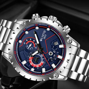 WLISTH zegarek męski zegarek męski zegarek męski wodoodporny zegarek na rękę zegarek kwarcowy z datą dla mężczyzn zegar sportowy luksusowy zegarek ze stali pasek tanie i dobre opinie BIZNESOWY QUARTZ NONE 3Bar Składane bezpieczne zapięcie CN (pochodzenie) STAINLESS STEEL 13mm Hardlex Kwarcowe zegarki