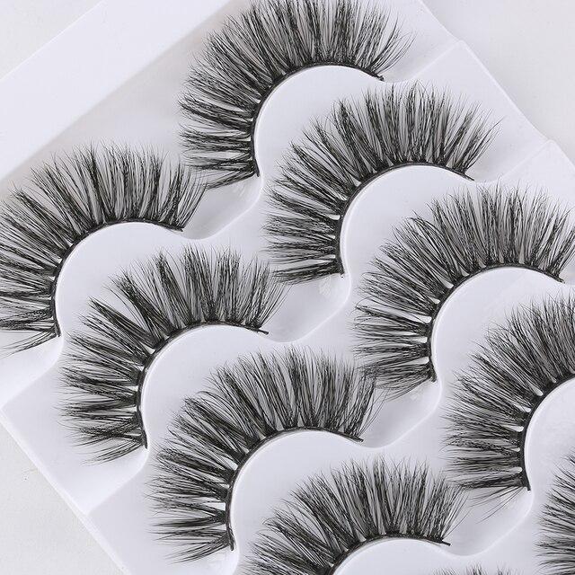 5 Pairs 3D Faux Mink Hair False Eyelashes Wispies Fluffies Drama Eyelashes Natural Long Soft Handmade Cruelty-free Black Lashes 5