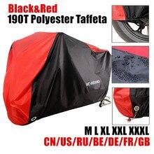 190T noir rouge étanche moto couvre moteurs Scooter poussière pluie neige UV protecteur couverture intérieur extérieur M L XL XXL XXXL D35