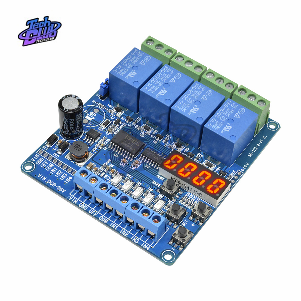 <font><b>4</b></font> Channel DC 8V-36V <font><b>LED</b></font> Display Multi-function Relay <font><b>Module</b></font> Board With optocoupler Self-locking Timing Relay <font><b>Module</b></font> image