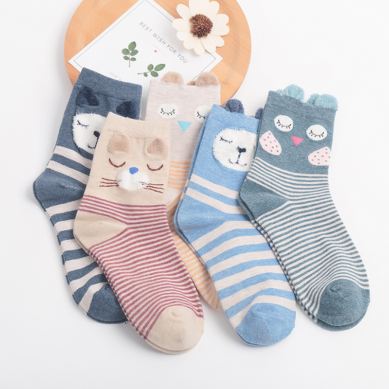 5Pairs 2019 New Autumn Women Cotton Socks  In Tube Animal Ear Cute Socks Fox Bear Soft Cartoon Socks Girl