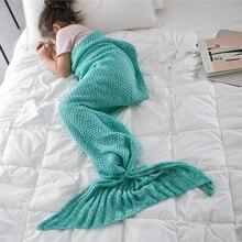 Mermaid Tail Blanket Crochet Mermaid Blanket For Adult Super Soft All Seasons Sleeping Knitted Blankets super soft color block knitted mermaid tail blanket