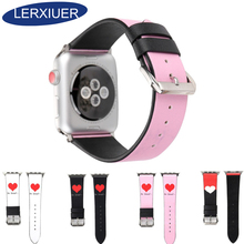Lerxiuer Genuine Leather strap For Apple watch band 42mm 38mm apple love Heart wrist bands belt corrrea Accessories