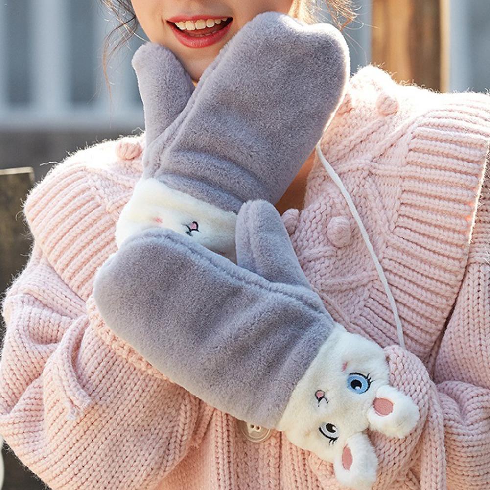 Girls Warm Winter Cute Knitted Fur Plush Eyelash Print Gloves Christmas Gifts