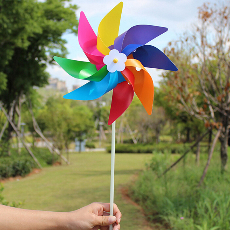 Plastic Eight-leaf Colorful Children's Toy Windmill Color DIY Outdoor Windmill Spinner Ornament Garden Decoration Kids Toy Gift