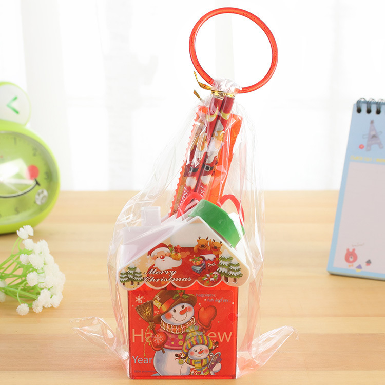 Korean House Christmas Stationery Set Santa Claus Pencil Set 5 Student Prize Festival Gift Box