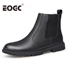 Fashion Chelsea boots Full Grain Leather Men Boots Size 36~46 Handmade Warm Winter Shoes Men Black Ankle Boots