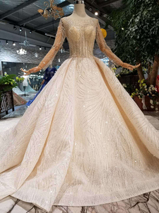 Image 3 - BGW HT43024 Handmade Wedding Dresses 2020 O neck Long Sleeve Luxury Beaded Shiny Lace Bride Wedding Gown Fashion New Material
