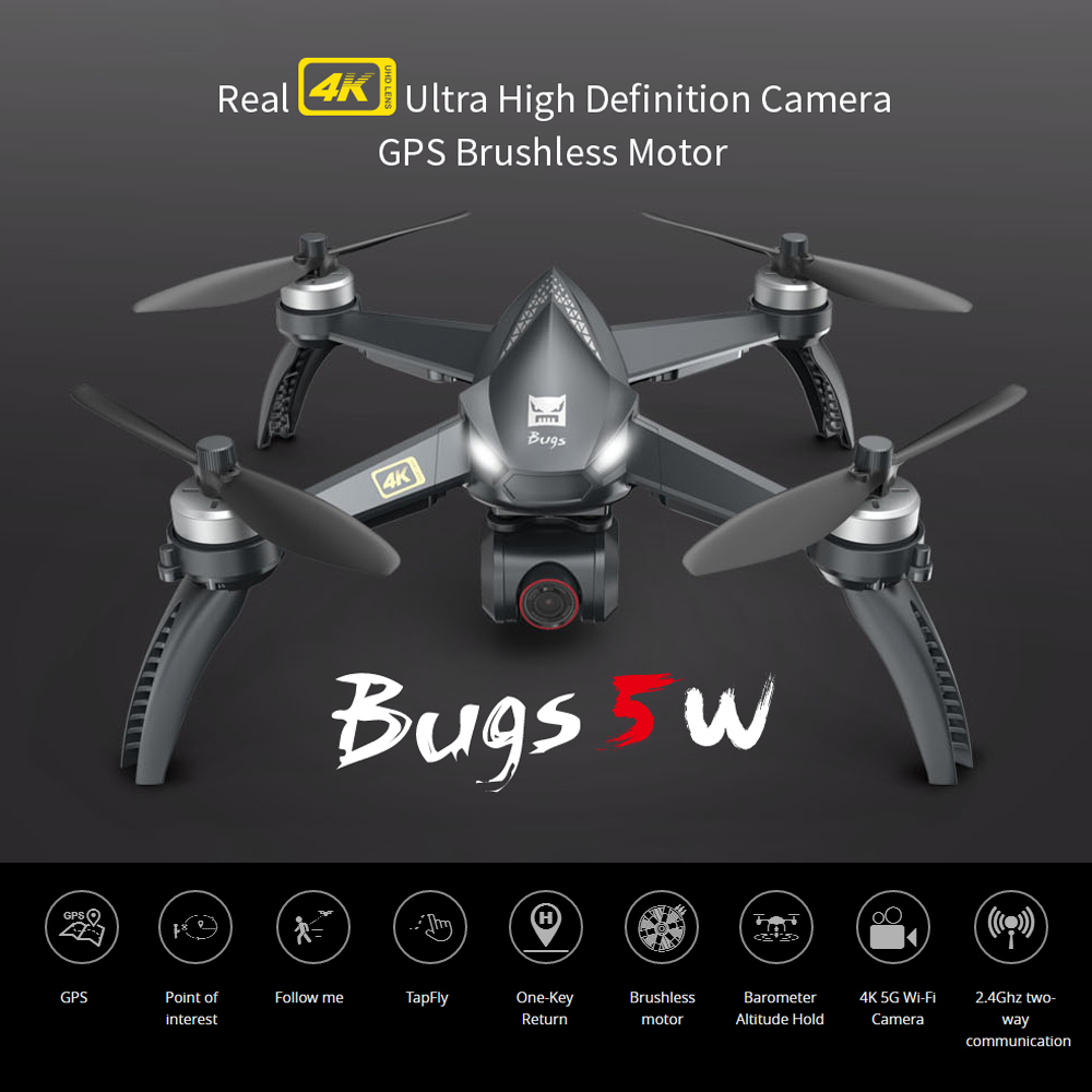 MJX New B5W Drone GPS Brushless Bugs 20min Drones Time Quadcopter Auto Return 5G RC 2.4GHZ Upgraded 4K Wifi FPV Camera Dron Toy