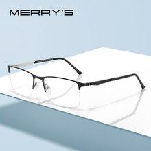 MERRYS עיצוב גברים טיטניום סגסוגת משקפיים מסגרת זכר כיכר חצי אופטי Ultralight עין קוצר ראיה מרשם משקפיים S2059