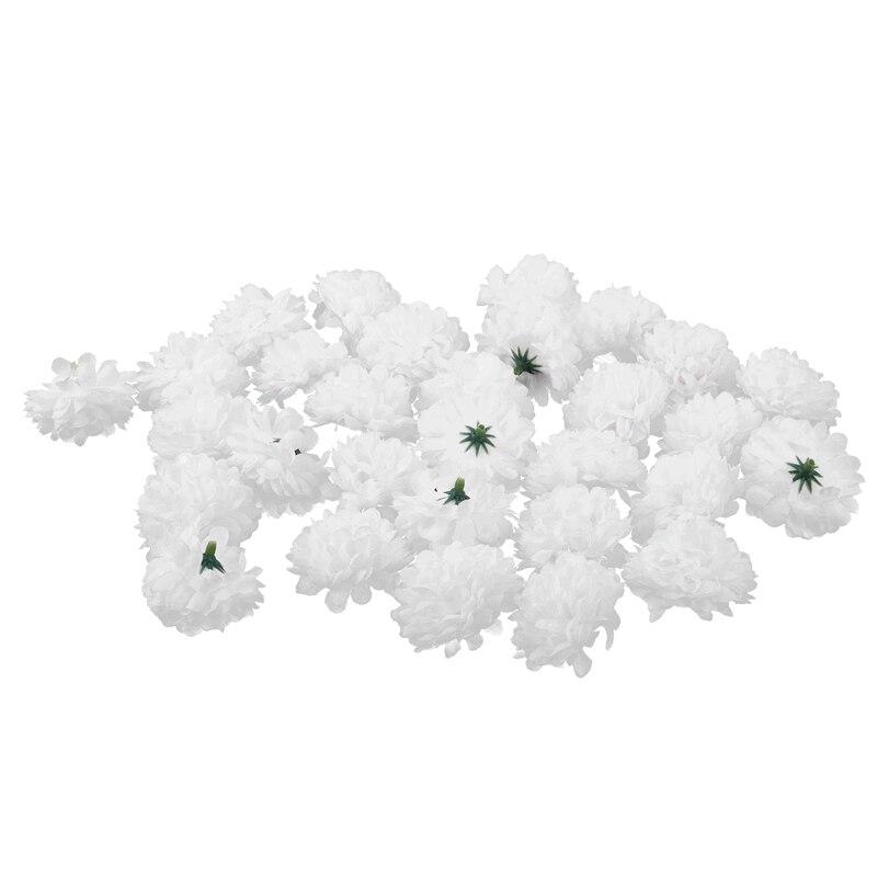 Cabezas esféricas de seda de flores artificiales artesanales de 30 Uds. Decoración de boda blanca Sandalias planas de verano para mujer, sandalias con diamantes de imitación de flores, zapatos de playa de vacaciones, calzado de mujer U23-74