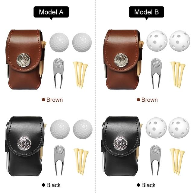 Outdoor Golf Ball Leather Bags Mini Pocket Golf Bag Holder with 2 Balls 3 Tees 1 Golf Divot Repair Tool Set Golf Equipment 6