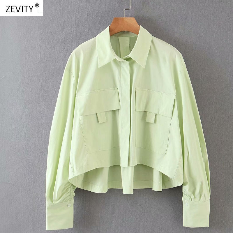 Women Simply Solid Double Pockets Patch Casual Loose Green Blouse Shirts Women Chic Office Blusas Irregular Chemise Tops LS6431