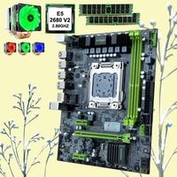 HUANANZHI 할인 마더 보드 세트 cpu가 장착 된 X79-6M 마더 보드 Intel Xeon E5 2680 V2 6 튜브 쿨러 RAM 32G (2*16G) RECC