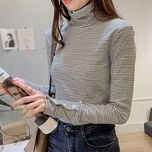 Women High-neck long-sleeved T-shirt tops women\s autumn and winter Autumn black white striped